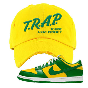 SB Dunk Low Brazil  Distressed Dad Hat | Yellow, Trap To Rise Above Poverty