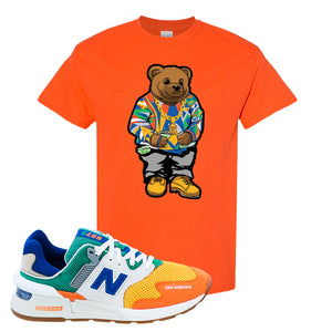 997S Multicolor Sneaker Orange T Shirt | Tees to match New Balance 997S Multicolor Shoes | Sweater Bear