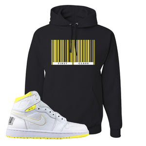 Air Jordan 1 First Class Flight First Class Barcode Black Sneaker Matching Pullover Hoodie