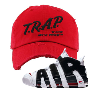 Air More Uptempo White Black Red Distressed Dad Hat | Red, Trap To Rise Above Poverty