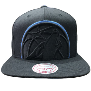 On the front of the minnesota timberwolves black snapback hat is the timberwolves logo embroidered in black and blue