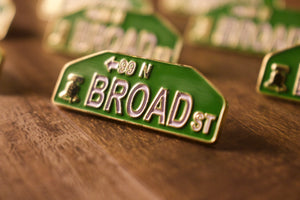 Philadelphia Inspired Broad Street Sign Enamel Pin | Broad Street Sign Pin | Broad Street Philly Inspired Pin close up shot