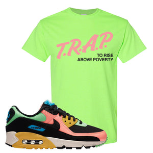 Furry Air Max 90 Bright Neon T Shirt | Trap To Rise Above Poverty, Neon Green