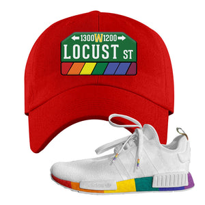 NMD R1 Pride Dad Hat | Red, Locust Street Sign