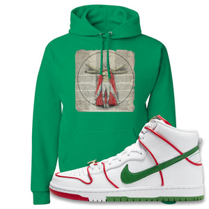 Paul Rodriguez's Nike SB Dunk High Sneaker Kelly Green Pullover Hoodie | Hoodie to match Paul Rodriguez's Nike SB Dunk High Shoes | Luchador Davinci