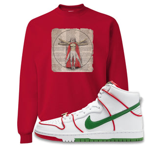 Paul Rodriguez's Nike SB Dunk High Sneaker Red Crewneck Sweatshirt | Crewneck to match Paul Rodriguez's Nike SB Dunk High Shoes | Luchador Davinci