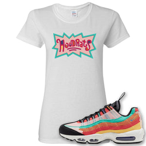 Air Max 95 Black History Month Sneaker White Women's T Shirt | Women's Tees to match Nike Air Max 95 Black History Month Shoes | Hood Rats
