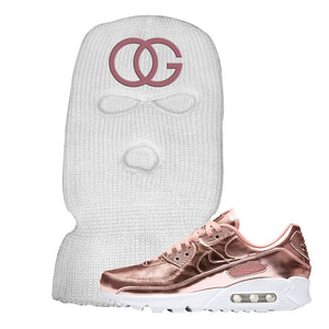 Air Max 90 WMNS 'Medal Pack' Rose Gold Sneaker White Ski Mask | Winter Mask to match Nike Air Max 90 WMNS 'Medal Pack' Rose Gold Shoes | OG