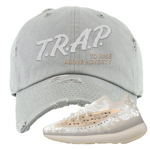 Yeezy Boost 380 'Pepper' Distressed Dad Hat | Light Gray, Trap To Rise Above Poverty