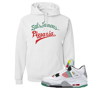 Jordan 4 WMNS Carnival Sneaker White Pullover Hoodie | Hoodie to match Do The Right Thing 4s | Sal's Famous Pizzeria