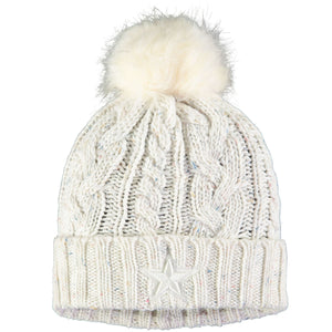 Dallas Cowboys Confetti Fuzzy Vegan Fur Pom Confetti Knit Women's Winter Beanie