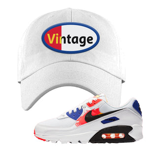 Air Max 90 Paint Streaks  Dad Hat | Vintage Oval, White