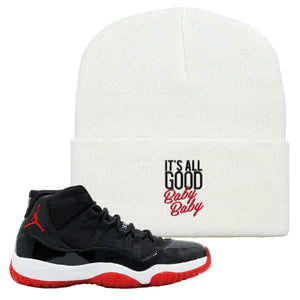 Jordan 11 Bred Beanie | White, It Was All Good Baby Baby
