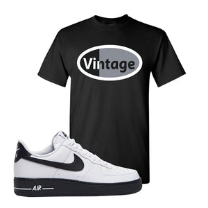 Air Force 1 Low White Black T Shirt | Black, Vintage Oval
