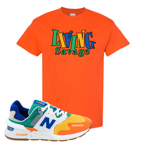 997S Multicolor Sneaker Orange T Shirt | Tees to match New Balance 997S Multicolor Shoes | Living Savage
