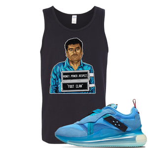 Air Max 720 OBJ Slip Light Blue Tank Top | Black, El Chapo Illustration