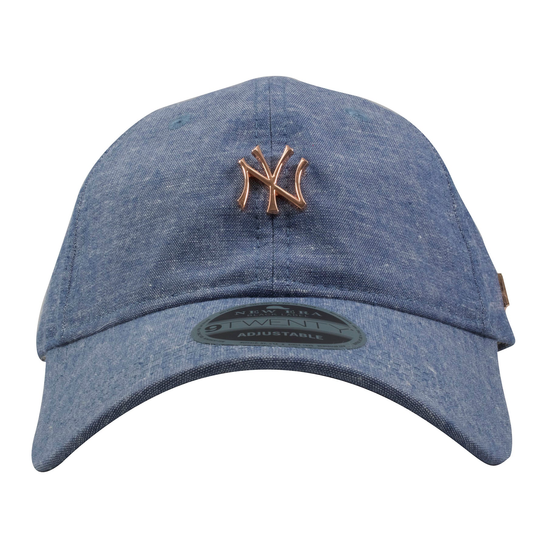 9626568aaf2 on the front of the new york yankees light denim black label dad hat is the