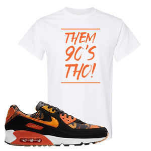 Air Max 90 Orange Camo T Shirt | Them 90's Tho, White