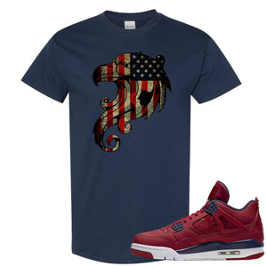 Jordan 4 FIBA Stars and Stripes Eagle Navy Sneaker Matching Tee Shirt