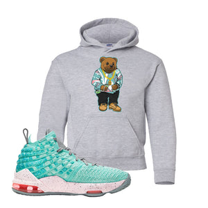 LeBron 17 'South Beach' Kid's Hoodie | Sport Grey, Sweater Bear