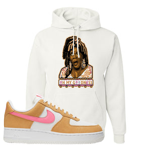 Nike Air Force 1 Pink Orange Hoodie | Oh My Goodness, White