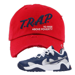 Air Barrage Low USA Distressed Dad Hat | Red, Trap To Rise Above Poverty