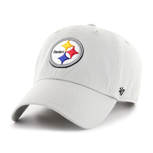 Embroidered on the front of the pittsburgh steelers gray dad hat is the steelers logo embroidered in steelers colorway