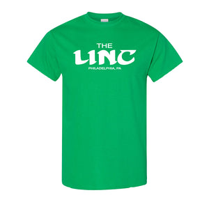 The Linc Birds Lettering T-Shirt | The Linc Birds Lettering Kelly Green T-Shirt the front of this t-shirt has the linc name in retro birds style