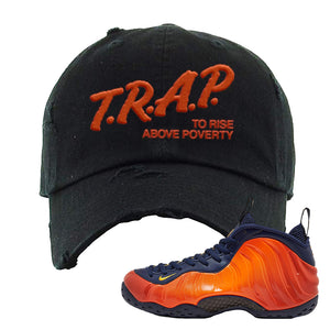 Foamposite One OKC Distressed Dad Hat | Black, Trap To Rise Above Poverty