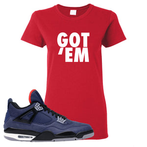 Jordan 4 WNTR Loyal Blue Got Em Red Sneaker Hook Up Women's T-Shirt