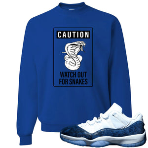 Jordan 11 Low Blue Snakeskin Caution of Snake Royal Blue Crewneck Sweater