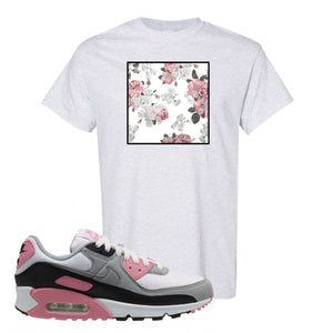 WMNS Air Max 90 Rose Pink Flower Box Ash T-Shirt To Match Sneakers