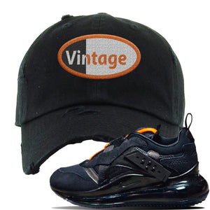 Air Max 720 OBJ Slip Sneaker Black Distressed Dad Hat | Hat to match Nike Air Max 720 OBJ Slip Shoes | Vintage Oval