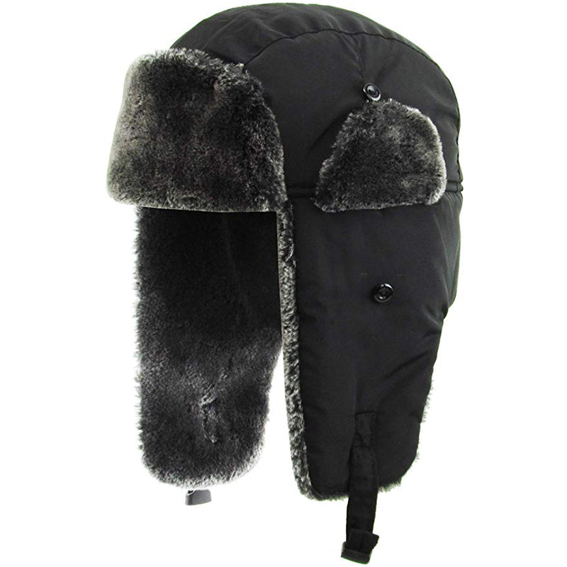 the black premium vegan fur ushanka trapper hat is black with a dark gray interior