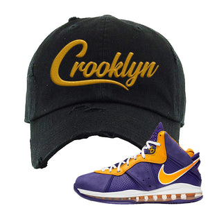Lebron 8 Lakers Distressed Dad Hat | Crooklyn, Black