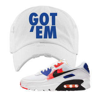 Air Max 90 Paint Streaks Distressed Dad Hat | Got Em, White