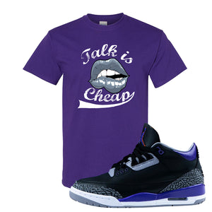 Air Jordan 3 Court Purple T Shirt | Talk Is Cheap, Purple