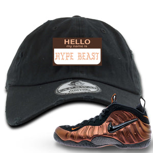 Foamposite Pro Hyper Crimson Sneaker Hook Up Hello My Name Is Hype Beast Pablo Black Distressed Dad Hat
