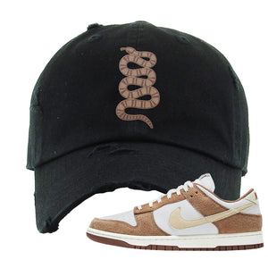Dunk Low Medium Curry Distressed Dad Hat | Coiled Snake, Black