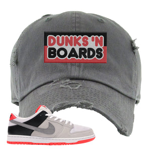 Nike SB Dunk Low Infrared Orange Label Dunks N Boards Dark Gray Distressed Dad Hat To Match Sneakers