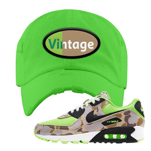 Air Max 90 Duck Camo Ghost Green Distressed Dad Hat | Neon Green, Vintage Oval