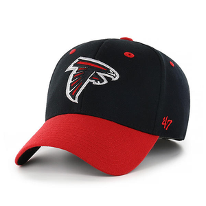 Embroidered on the front of the Atlanta Falcons two tone stretch fit hat is the Atlanta Falcons logo in red, black, and white