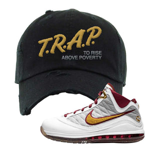 LeBron 7 MVP Distressed Dad Hat | Black, Trap To Rise Above Poverty