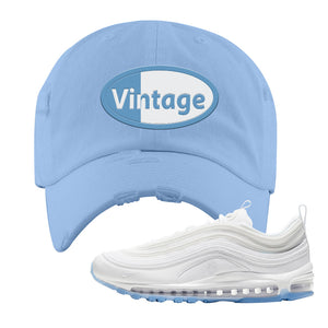 Air Max 97 White/Ice Blue/White Sneaker Light Blue Distressed Dad Hat | Hat to match Nike Air Max 97 White/Ice Blue/White Shoes | Vintage Oval