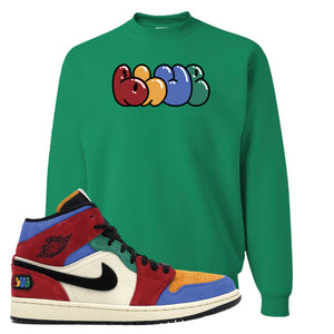 Jordan 1 Mid Fearless Blue The Great Blue Kelly Green Sneaker Hook Up Crewneck Sweatshirt