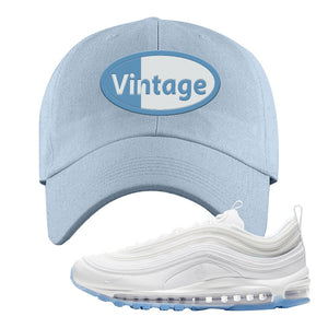 Air Max 97 White/Ice Blue/White Sneaker Light Blue Dad Hat | Hat to match Nike Air Max 97 White/Ice Blue/White Shoes | Vintage Oval