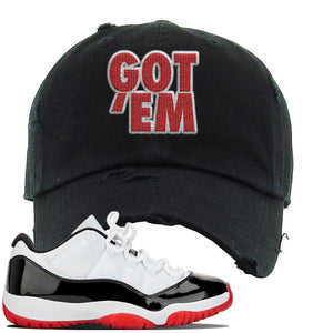 Jordan 11 Low White Black Red Sneaker Black Distressed Dad Hat | Hat to match Nike Air Jordan 11 Low White Black Red Shoes | Got Em