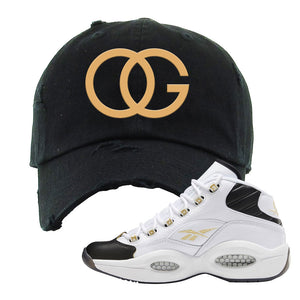 Reebok Question Mid Black Toe Distressed Dad Hat | Black, OG