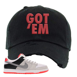 Nike SB Dunk Low Infrared Orange Label Got Em Black Distressed Dad Hat To Match Sneakers