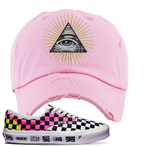 Vans Era Venice Beach Pack Distressed Dad Hat | Pink, All Seeing Eye